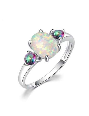 White Opal Ring with Topaz Natural Stone