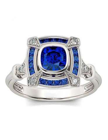 Deep Blue Sapphire Stone Silver Plated Vintage September Birthstone