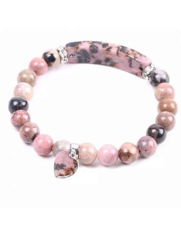 HiHoney_HB044_Chakra_Bracelet_Beads_Rhodonite_Unisex_Healing_Jewelry_Gemstone_White_Background