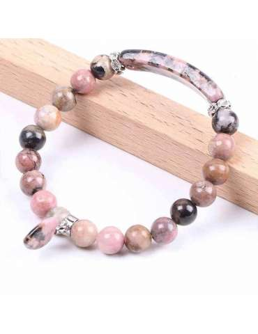 HiHoney_HB044_Chakra_Bracelet_Beads_Rhodonite_Unisex_Healing_Jewelry_Gemstone_Wood_White_Background