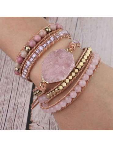 HiHoney_CHB032_Quartz_Big_Bracelet_Pink_Beads_Healing_Jewelry_Gemstone_Wood_Background_Woman_Model_Wrist_Hand