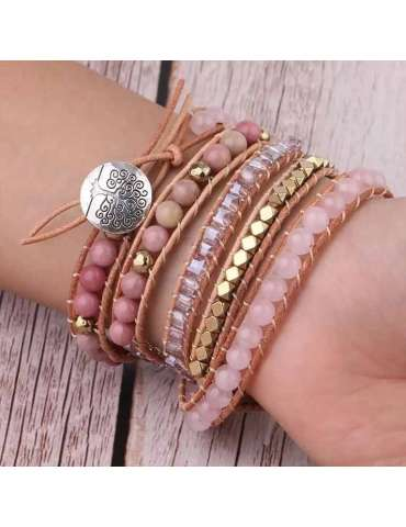 HiHoney_CHB032_Quartz_Big_Bracelet_Pink_Beads_Healing_Jewelry_Gemstone_Wood_Background_Woman_Model_Wrist_Hand_Reverse