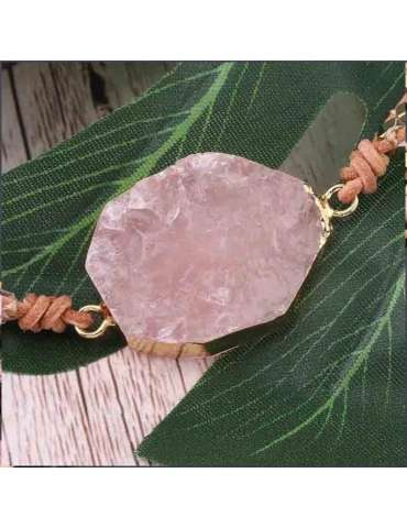 HiHoney_CHB032_Quartz_Big_Bracelet_Pink_Beads_Healing_Jewelry_Gemstone_Leaf_Wood_Background