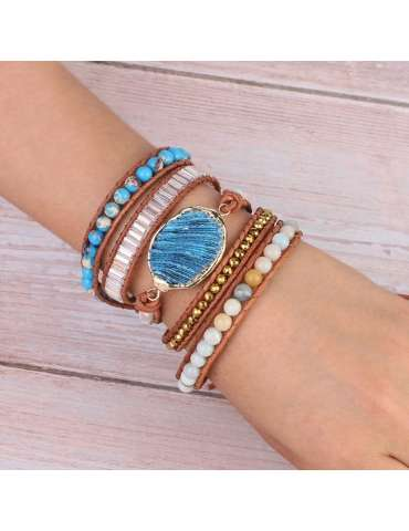 coral-blue-amazonite-beaded-bracelet-chb037