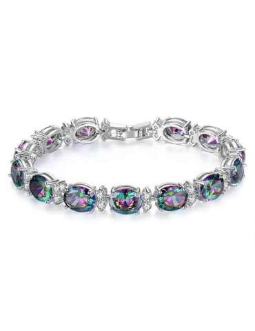 Topaz And Zirconia Silver Bracelet