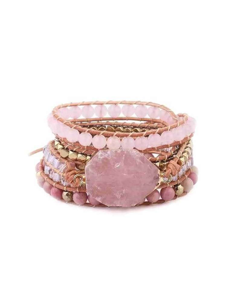 HiHoney_CHB032_Quartz_Big_Bracelet_Pink_Beads_Healing_Jewelry_Gemstone_White_Background