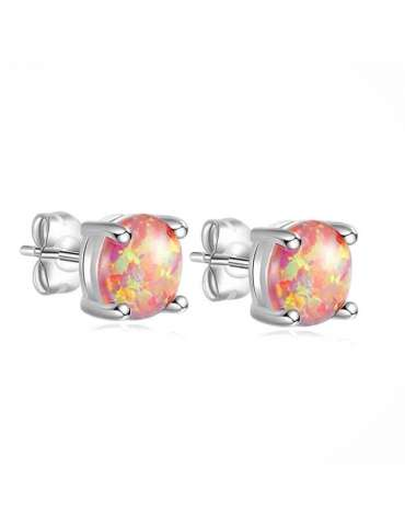 Orange Fire Opal Silver Earrings