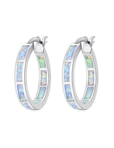 Round White Opal Silver Earrings