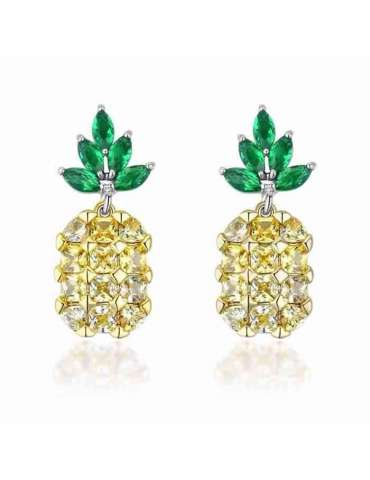 Cute Pineapple Shaped Earrings with White Zirconias