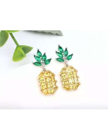 cute-pineapple-earrings-healing-jewelry-gemstone-display-white-background-hihoney-he023