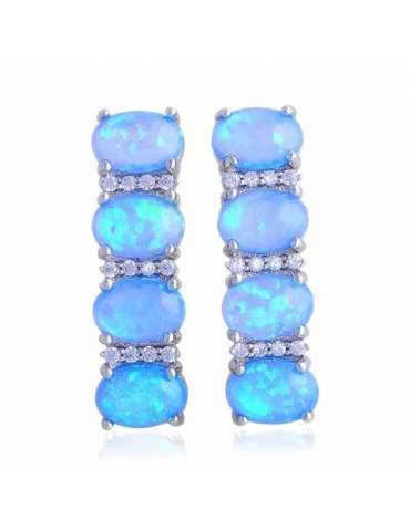 Blue & White Opal  Earrings