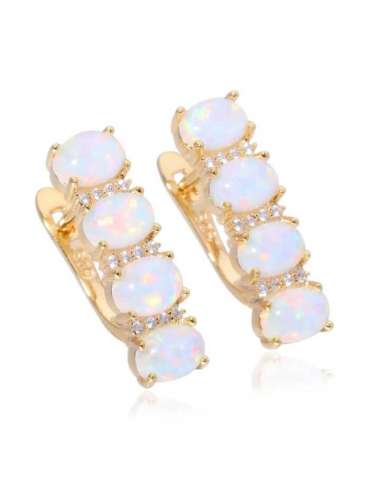 Gold Plated White Opal Earrings
