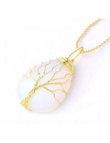 gold-wrapped-white-opal-chakra-necklace-gemstone-jewelry-birthstone-pendant-white-background-hihoney-hn054