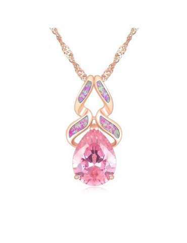 Rose Gold Plated Topaz & Opal Pendant