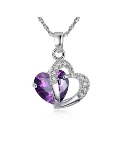 Lovely Purple Heart Shaped Cubic Zirconia Necklace