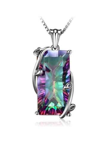 Rainbow Mystic Topaz Sterling Silver Pendant & Necklace