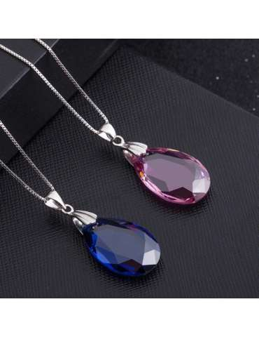 blue-pink-rose-long-necklaces-pendants-gemstone-jewelry-birthstone-white-background-hihoney-hn021
