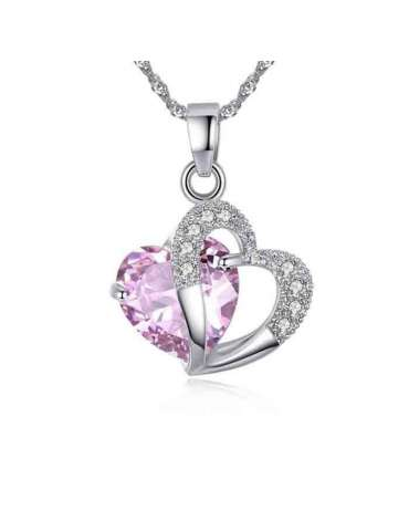 Lovely Pink Heart Shaped Cubic Zirconia Pendant with Silver Chain