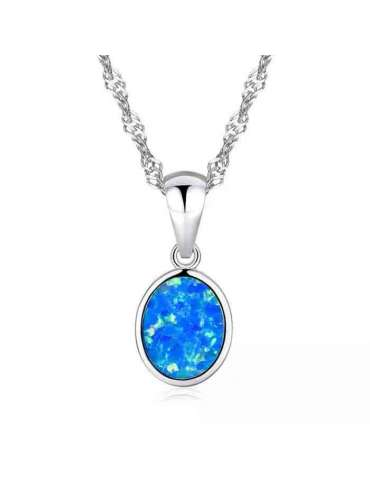 Blue & White Opal Silver Necklace