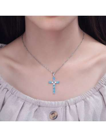 cross-blue-opal-silver-necklace-gemstone-jewelry-birthstone-woman-model-neck-hihoney-hn017