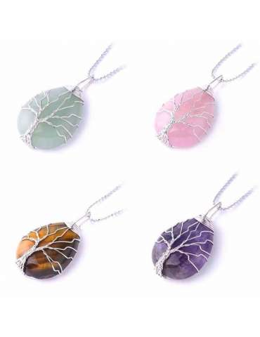 silver-wrapped-chakra-four-necklaces-gemstone-jewelry-birthstone-pendant-white-background-hihoney-hn055