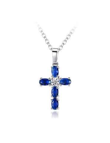 Cross Deep Blue Necklace with Cubic Zirconia