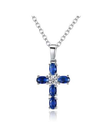 cross-blue-silver-necklace-pendant-cubic-zirconia-gemstone-jewelry-birthstone-white-background-hihoney-hn028