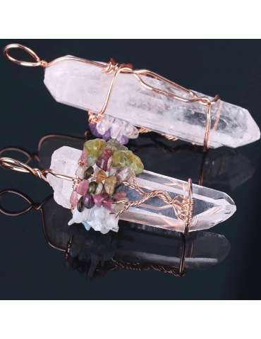 two-rose-gold-white-crystal-chakra-wire-wrapped-pendants-gemstone-jewelry-birthstone-black-background-01-hihoney-hn046