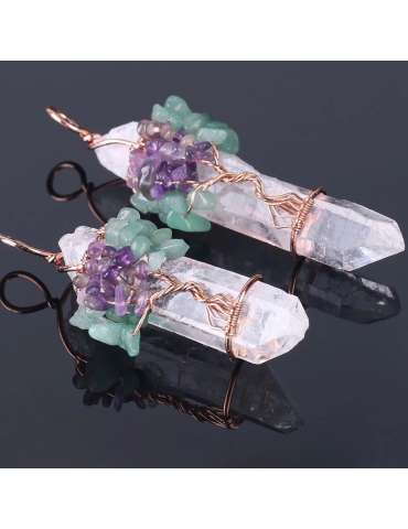 two-rose-gold-white-crystal-chakra-wire-wrapped-pendants-gemstone-jewelry-birthstone-black-background-hihoney-hn046b