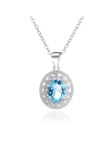 Aurora Blue Aquamarine & Zirconias Necklace