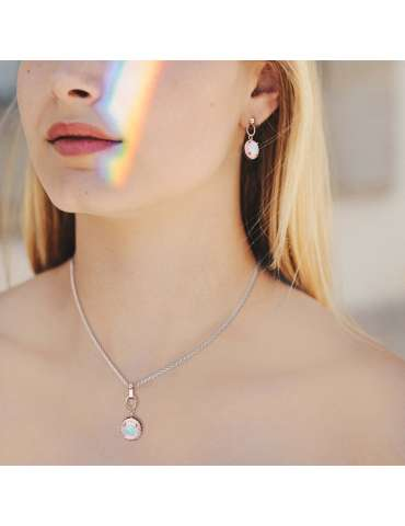 rose-gold-opal-jewelry-set-healing-necklace-pendant-earrings-model-woman-neck-hihoney-hs015