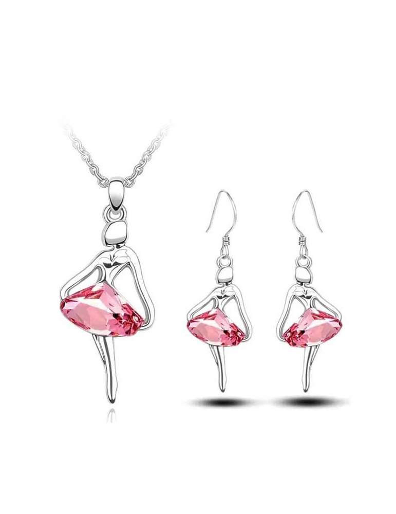 silver-ballerina-jewelry-set-pink-healing-necklace-pendant-earrings-white-background-hihoney-hs018