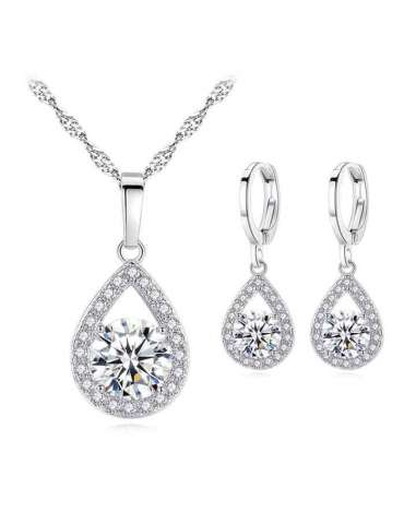 Silver Jewelry Set with Topaz & Zirconias