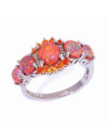 Fire Orange Opal Ring