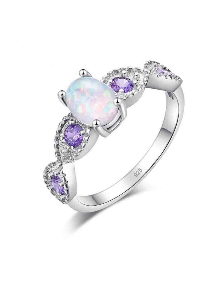 graceful-silver-white-opal-purple-amethyst-ring-gemstone-jewelry-white-background-hihoney-hr017
