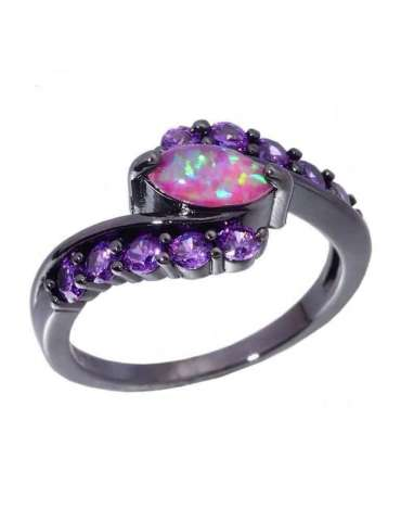 Violet Amethyst & Opal Ring in Black Gold