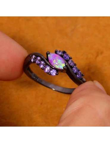 black-gold-plated-opal-amethyst-purple-pink-silver-ring-gemstone-jewelry-wood-background-fingers-holding-ring-hihoney-hr032