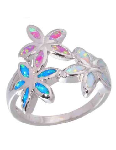 Flower Shaped Opal Silver Ring