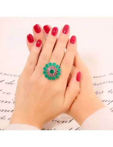 green-emerald-pink-zirconia-ring-healing-ring-gemstone-jewelry-woman-crossed-hands-on-letter-background-hihoney-hr057