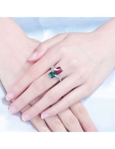 green-red-mystic-topaz-zirconia-chakra-silver-healing-ring-gemstone-jewelry-woman-crossed-hands-on-cloth-hihoney-hr060