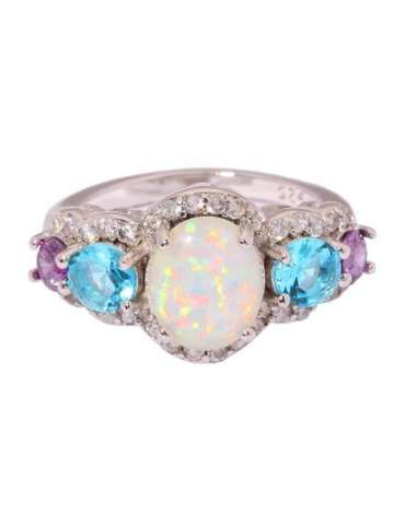 ring-with-three-stones-opal-aquamarine-amethyst-silver-gemstone-jewelry-white-background-front-hihoney-hr063