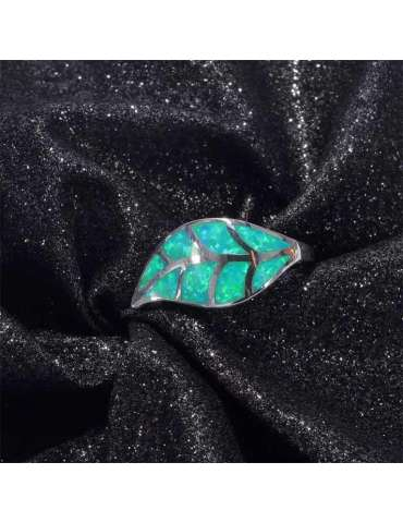 leaf-shaped-nature-green-opal-silver-healing-ring-gemstone-jewelry-black-dark-shiny-cloth-background-hihoney-hr067