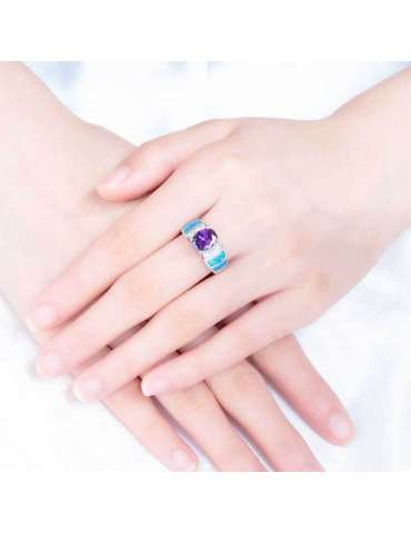 blue-opal-purple-amethyst-silver-healing-ring-gemstone-jewelry-woman-crossed-hands-white-background-hihoney-hr069
