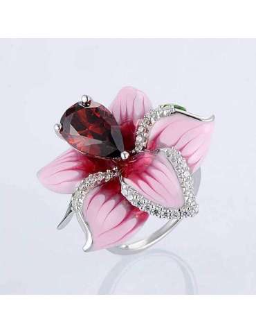 flower-gold-plated-ring-pink-silver-healing-ring-gemstone-jewelry-grey-background-hihoney-hr086