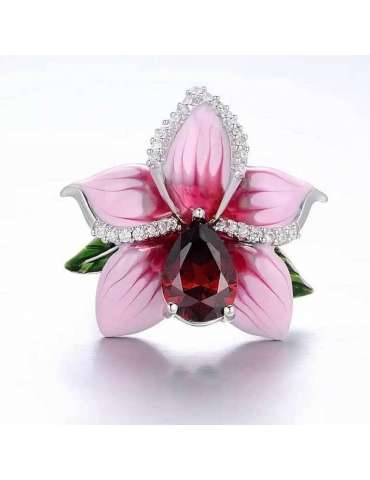 flower-gold-plated-ring-pink-silver-healing-ring-gemstone-jewelry-white-background-front-hihoney-hr086