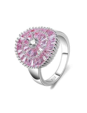 Pink Rose & Purple Zirconia Silver Ring