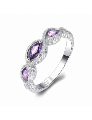 Purple Amethyst and Mystic Topaz Silver Ring