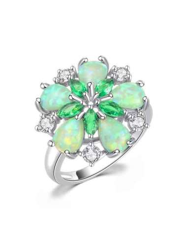 Flowerly Green Opal Ring