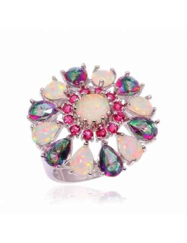 flower-shaped-rainbow-topaz-white-opal-red-garnet-silver-healing-ring-gemstone-jewelry-white-background-hihoney-hr058