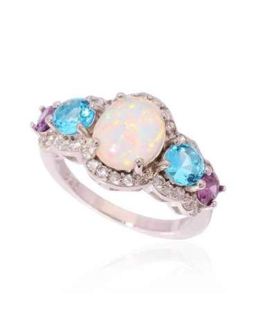 ring-with-three-stones-white-opal-blue-aquamarine-purple-amethyst-silver-healing-gemstone-jewelry-white-background-hihoney-hr063
